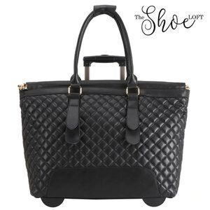 Quilted Rolling Tote Travel Bag